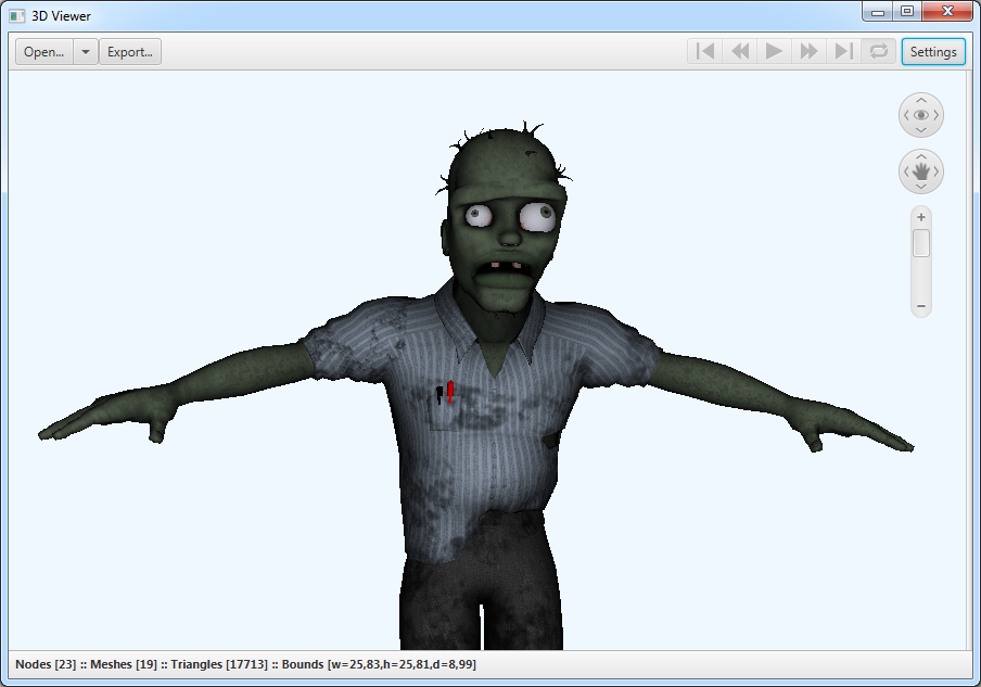 A JavaFX viewer application showing a Zombie object imported from an FBX file.